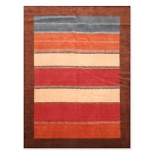 """8'11"""" x 12' Hand Knotted Wool Oriental Area Rug Contemporary Brown"""