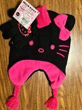 Hello Kitty Little Girls Toddler Kids Winter Beanie Flap Mitten Hat Glove Set
