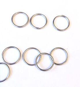 10mm x 2 Pieces Silver Metal split Rings/Jump Rings for Keyrings....UK SELLER