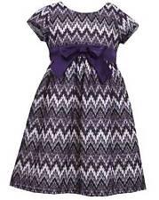 New Girls Bonnie Jean sz 6x Purple Lurex Lace Chevron Dress Fall Holiday Clothes