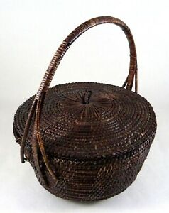 """Vintage Chinese Basket Footed Lidded Hand-Made Finely Woven Brown 11"""" w/Handle"""