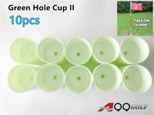 10pcs Green Hole Cup II Plastic Putting Greens Practice Aids Holds Supports Flag