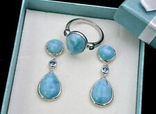 Larimar AAA Premium Quality Ring and Earrings Set. .925 Sterling Silver Size 7.5