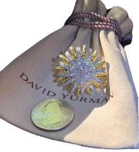 $7,800 David Yurman 30x30 Starburst Ring with Diamonds in 18K 750 Yellow Gold