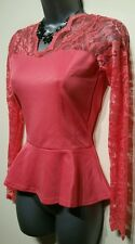 Size 12 Top BOOHOO Coral Pink Lace BNWT Fitted Peplum Body Top Women's
