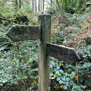 """Card: """"Footpath Signpost Coniston Tarn Hows England"""" #PeterBrighousePhotography"""