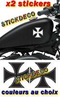 2 Stickers Croix de malte bobber biker Decals autocollant 13cm Couleurs au choix