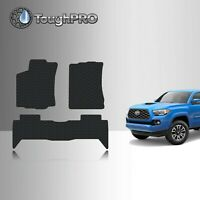 ToughPRO Floor Mats Black For Toyota Tacoma Double Cab All Weather 2016-2021