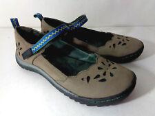JAMBU Brooks US 6M Taupe Leather & Blue Green Mary Jane All Terrain Flats Shoes