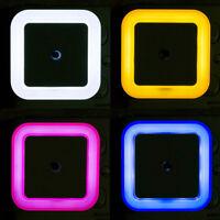 Auto LED Light Sensor Control Bedside Night Light Wall Lamp Bedroom Decor US/EU