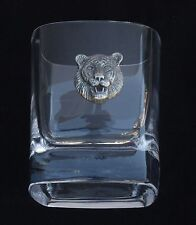 Tiger Face Pair of Crystal Tumblers Pewter Motift Presentation Box Safari Gift