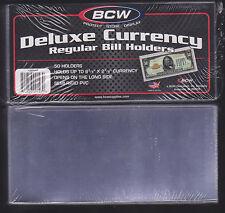 25 REGULAR  BCW DELUXE CURRENCY SLEEVE BILL  HOLDERS PAPER MONEY SEMI RIGID..