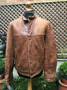 """TOMCAT Leather By Darius Covent Garden London leather flight Bomber jacket L 44"""""""
