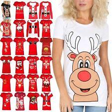 Womens Ladies Top Cap Sleeves Red Nose Reindeer Xmas T Tee Shirt Size 8-14