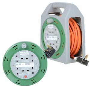 Outdoor Extension Cable Reel Orange 10Amp 4 Sockets Garden Tools Lighting