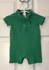 Ralph Lauren Baby Boy One Piece Shorts Outfit Polo Green 6 Months