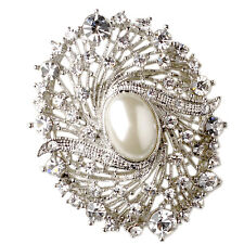 Vintage Style Corsage Weddings Silver Ivory Pearl Oval Bouquet Brooch Pin BR420