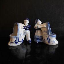 2 figurines statuettes porcelaine DELFT Hollande fait main vintage XIX N3776