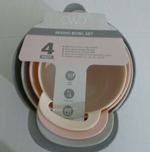 Cooking With Color 4PC Mixing Bowl Set      Shades of Gray & Pink