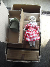 "Vintage Case Lot of 12 1970s Shackman Bisque Cloth Girl Doll 5 1/4"" Tall Nib"