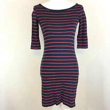 French Connection Blue Red Striped Susu Boatneck Shirt Dress Size 4 Stretch