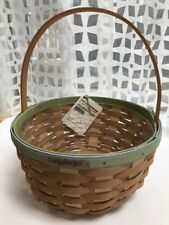New 2011 Longaberger Round Potluck Basket #12160 W Tags Green Blue