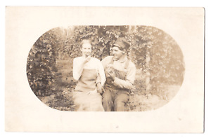 RPPC Geneva, Oregon Stifel Overalls Real Photo Postcard Romantic Couple