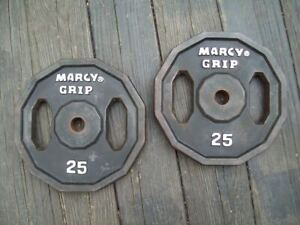 "MARCY ""GRIP"" PLATES 25s BODYBUILDING Strongman York Barbell FITNESS HomeGym ab"