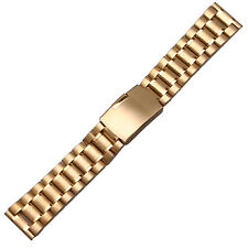 New Gold Stainless Steel Watch Bracelet Strap Solid Band 20mm Straight End Links