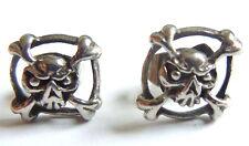Pirate Skull  Ear Stud Earrings Pair Silver Punk Goth Stainless Steel Gift Bag