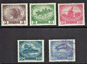 1915-16 AUSTRIA EMPIRE  WWI SEMI-Postals Military Set of 5  Sc#B3-7 M/H/Used