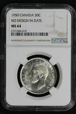 NGC MS64 NO DESIGN IN DATE 1950 CANADA SILVER HALF DOLLAR FIFTY CENTS 50c (BC19)
