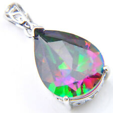 Lady Heart Shaped Natural Shiny Rainbow Mystical Topaz Silver Necklace Pendants