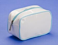 Make-up Cosmetics Bag Clinique White PVC Blue Trim Zip Fastener 157mm x 77mm