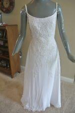 Davids Bridal Oleg Cassini White Chiffon Floor Length Gown Wedding Dress Size 10