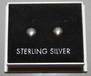 STERLING SILVER 925, SMALL SHELL DESIGN STUD EARRINGS BOXED,  STUD 126