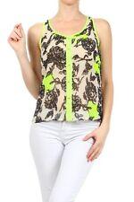New Sleeveless Chiffon Blouse Flower Print Button Down Top Racerback Shirt
