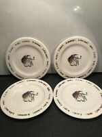 4 VINTAGE ROSANNA IMPORT FRENCHMAN WINE THEME PLATES  FROM ITALY  8 1/2