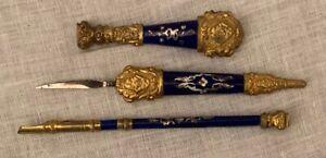 Very beautiful antique French dark blue enamel gilt ormolu writing set