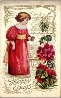Happy Days  young girl red flowers motiff 1909 Vintage Postcard AA-004