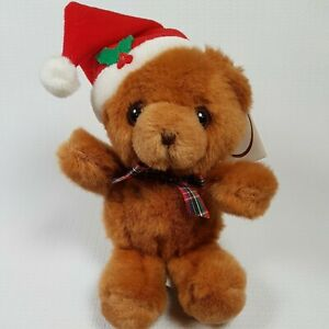 Russ Berrie Caress Soft Pets 9 Inch Teddy Bear Plush with Santa Hat
