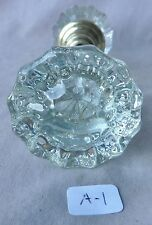 Glass Door Knobs w/ Brass ANTIQUE VERY BRIGHT 12 pointed  #A1 (per pair)