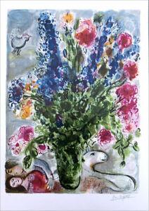Marc Chagall Les Lupins Bleu Facsimile Signed Litho Print 35 x 24-1/2