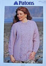 PATONS 5020 - LADIES ARAN CELTIC CABLE SWEATER KNITTING PATTERN 32/42in