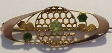 Lattice Peridot Brooch Arts & Crafts 9ct Gold Murrle Bennett Intricate Honeycomb
