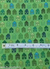 STOF Fabric Green & Blue houses ,fat quarters,100% cotton, MCS 13-44801