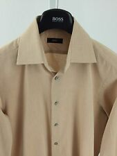 Hugo Boss Mens Medium 39/15.5 Light Brown Long Sleeve Button Front K-67