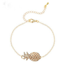 Gold/Silver Plated Pineapple Pendant Chain Bracelet Women Girls Fashion Jewelry