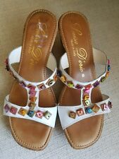 LUISA D'ORIO CORK WEDGE HEEL SANDALS Size 8 Made in Italy