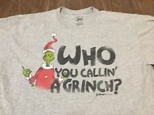 Dr Seuss Who You Calling A Grinch? XL Gray T Shirt Who Stole Christmas